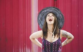Картинка девушка, радость, лицо, фон, волосы, шляпа, рот, платье