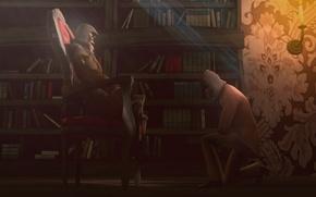 Картинка свет, книги, свеча, кресло, библиотека, assassins creed, assassins, концепт-арт, concept-art, ассасины