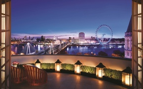 Картинка twilight, London, terrace, Corinthia hotel, Royal Penthouse