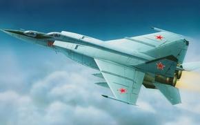 Картинка art, painting, aviation, jet, soviet training battle interceptor, Mig-25U, micojan