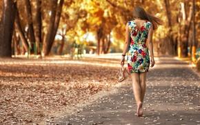 Картинка парк, прелесть, походка, босоножки, листья, Дарья Гунчикова, девушка, узоры, young, Dasha, осень, модель, платье, портрет, ...