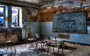 Обои клас, стулья, доска