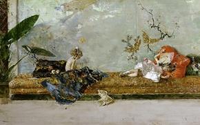 Картинка картина, жанровая, Мариано Фортуни, Дети Художника, Японский Класс, Мария Луиза и Мариано