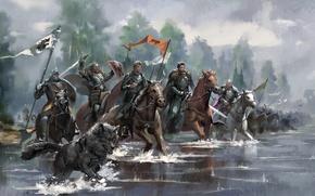 Картинка река, кони, армия, пес, рыцарь, король, знамя