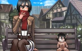 Картинка взгляд, девушка, город, игрушка, шарф, art, титан, mikasa ackerman, Attack on Titan, Shingeki no Kyojin, …