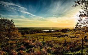 Картинка небо, трава, облака, природа, Англия, горизонт, луга, Horwich