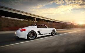 Картинка Облака, Авто, Дорога, Тюнинг, Скорость, Машины, Porsche Boxter