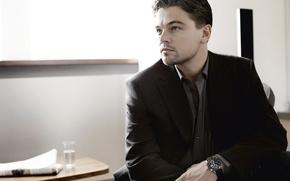 Обои стиль, часы, актёр, красавец, леонардо дикаприо, leonardo dicaprio