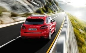 Картинка дорога, красный, скорость, Porsche, Porsche Cayenne