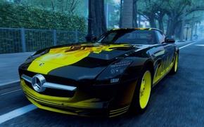 Картинка дорога, жёлтый, пламя, чёрный, Mercedes-Benz, обочина, кусты, AMG, GT3, The Crew