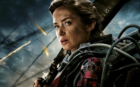Картинка Girl, Action, Fantasy, Sky, Darkness, Emily Blunt, Wallpaper, Woman, Weapon, Face, Cloud, Movie, Sword, Film, …