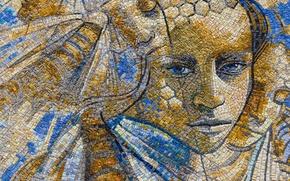 Картинка цвета, девушка, мозаика, лицо