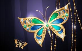 Картинка бабочки, фон, бусины