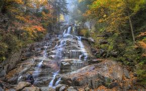 Картинка осень, лес, деревья, горы, река, камни, скалы, водопад, поток