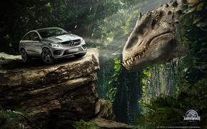 Картинка авто, лес, скала, фантастика, динозавр, ситуация, джунгли, Мир Юрского периода, Jurassic World, Mercedes-Benz GLE Coupe