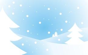 Картинка белый, снег, голубой, ёлка