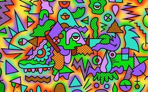 Обои треугольник, цвета, фигуры, зигзаг, абстракция, круг, квадрат