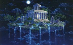 Картинка небо, ночь, остров, водопад, звёзды, Moon Temple, GILBERT WILLIAMS