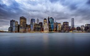 Картинка огни, Соединенные Штаты, Река Гудзон, Манхэттен, горизонта, Нью-Йорк, облака