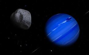 Картинка небо, звезды, пространство, вселенная, планета, астероид