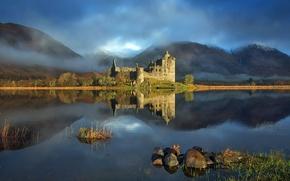 Обои озеро, горы, замок
