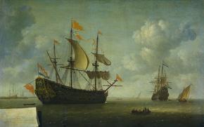 Картинка лодка, картина, парус, морской пейзаж, Захват Английского Флагманского Корабля, Jeronymus van Diest II