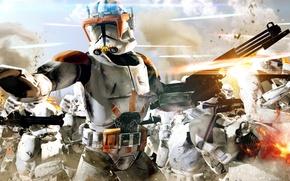 Обои cinema, Star Wars, fire, battlefield, flame, gun, soldiers, sky, weapon, war, cloud, man, army, movie, ...
