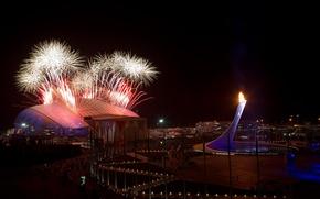 Картинка салют, вечер, чаша, факел, фейерверк, Россия, Сочи 2014, олимпийский огонь, Sochi 2014, стадион Фишт, Олимпийский …