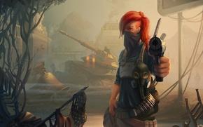 Обои девушка, пистолет, арт, танк, рыжая, Homefront: The Revolution