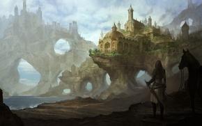 Картинка море, девушка, озеро, замок, скалы, конь, лошадь, меч, арт, арки