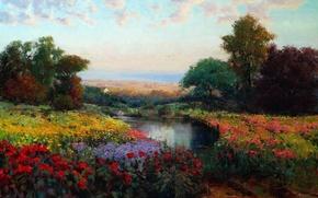 Картинка цветы, картина, масло, арт, деревья, озеро, Eric Wallis, луг, небо, пейзаж