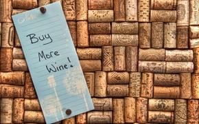 Картинка вино, записка, пробки