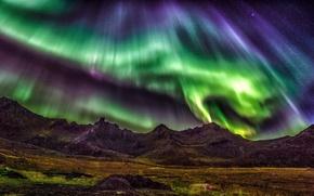 Картинка звезды, горы, ночь, северное сияние, Норвегия, Лофотенские острова