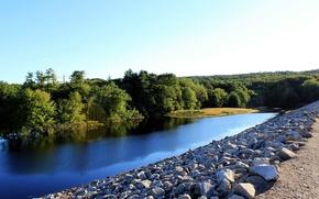 Картинка деревья, природа, река, камни, канал, Nature, river, trees, canal
