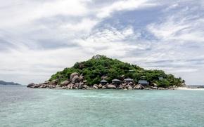 Картинка небо, вода, зеленый, океан, голубой, green, остров, залив, Тайланд, Thailand, sky, ocean, blue, water, island, ...
