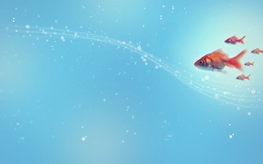 Обои рыбы, круги, абстракция, стиль, узоры, точки, линий, style, circles, patterns, lines, abstraction, fishes, 2560x1440, dots