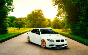 Картинка BMW, Orange, White, E92, Road, Low, Wheels, Stancenation
