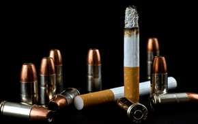 Картинка фон, сигарета, патроны