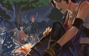 Картинка лес, дерево, рисунок, костер, dragon age, морриган, origins, лагерь, лилиана, алистер