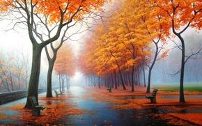 Обои картина, парк, арт, природа, рисунок, рисунки, осень, картины