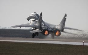 Картинка Фото, Самолет, Скорость, Истребитель, Многоцелевой, Аэродром, Взлет, Миг-29