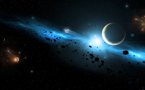 Картинка energy, planets, explosions, Sci fi