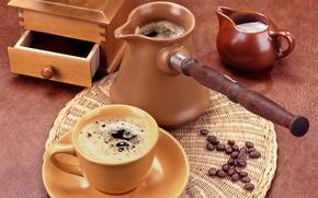 Обои зерна, кофе, чашка