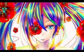 Картинка девушка, цветы, мак, colorful, слезы, арт, vocaloid, hatsune miku, вокалоид