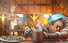 Картинка бабушка, печенье, повар, камин, эльфийка, пила, Art, топоры, elf, tavern, горячий напиток, RoninDude, A Warm …