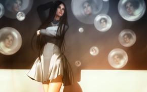 Картинка круги, лицо, отражение, волосы, платье, красотка