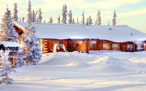 Картинка зима, лес, небо, снег, деревья, природа, дом