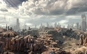 Картинка небо, облака, фантастика, скалы, апокалипсис, пустыня, панорама, свалка, руины, rage