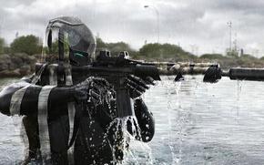 Картинка вода, река, фантастика, солдат, автомат, шлем, камуфляж, phantom