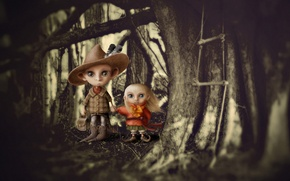 Обои лес, дети, мальчик, арт, девочка, клыки, вампиры
